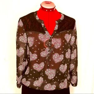 g21 Sheer Black Blouse with Heart Design Size XL
